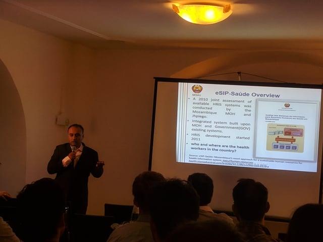 Devan Manharlal explaining how Mozambique uses Pentaho to analyze health data