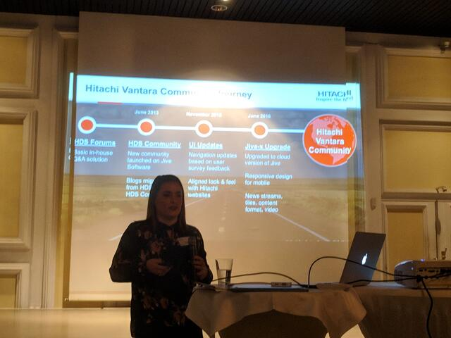 Jill Ross introducing the Pentaho Community to the Hitachi Community Portal